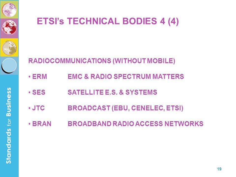 19 ETSI's TECHNICAL BODIES 4 (4) RADIOCOMMUNICATIONS (WITHOUT MOBILE) ERMEMC & RADIO SPECTRUM MATTERS SESSATELLITE E.S.