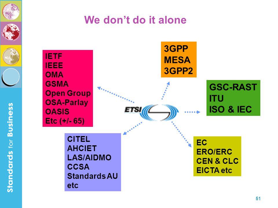 51 GSC-RAST ITU ISO & IEC 3GPP MESA 3GPP2 IETF IEEE OMA GSMA Open Group OSA-Parlay OASIS Etc (+/- 65) EC ERO/ERC CEN & CLC EICTA etc CITEL AHCIET LAS/AIDMO CCSA Standards AU etc We don't do it alone