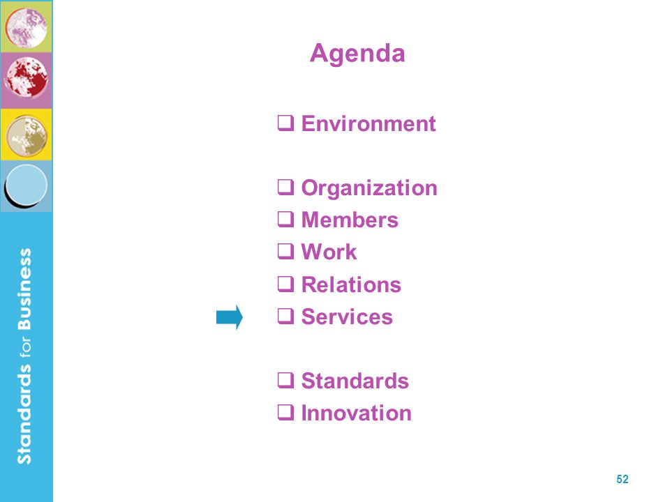 52 Agenda  Environment  Organization  Members  Work  Relations  Services  Standards  Innovation
