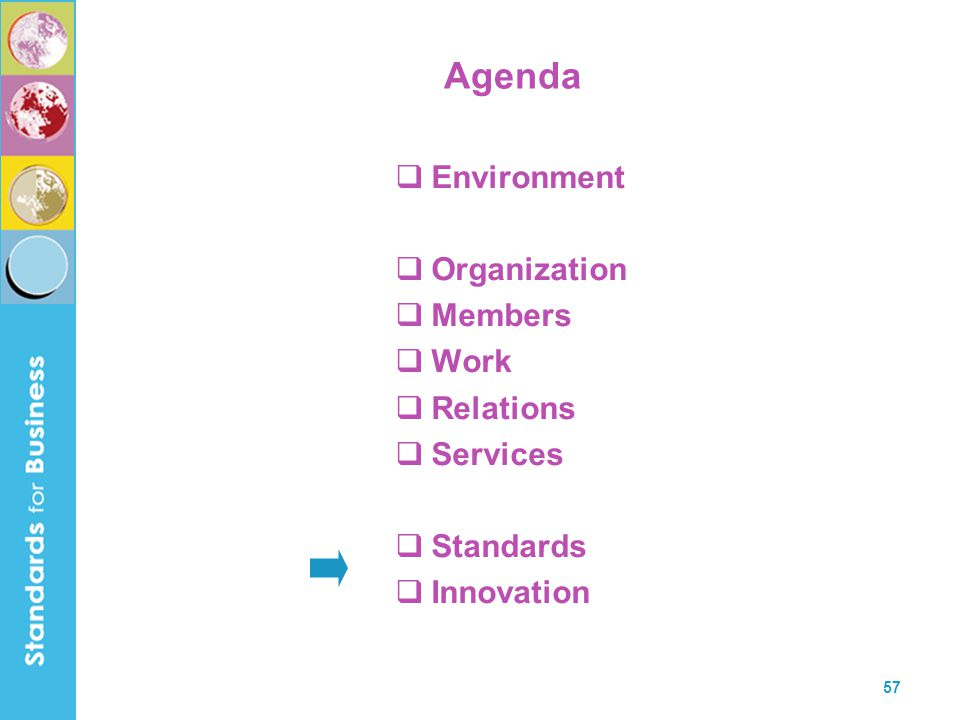 57 Agenda  Environment  Organization  Members  Work  Relations  Services  Standards  Innovation