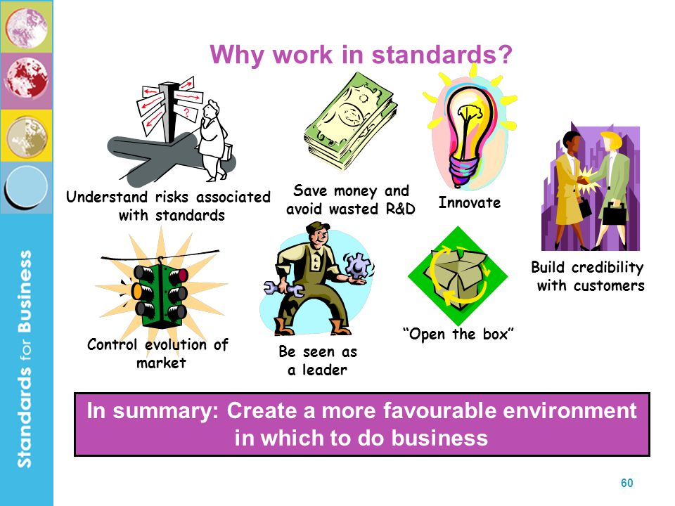 60 Why work in standards? In summary: Create a more favourable environment in which to do business Save money and avoid wasted R&D Build credibility w
