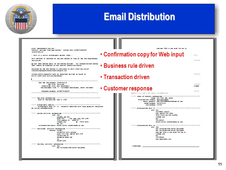 11 Email Distribution Confirmation copy for Web input Business rule driven Transaction driven Customer response