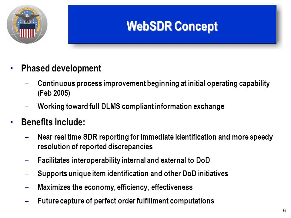 6 WebSDR Concept Phased development – Continuous process improvement beginning at initial operating capability (Feb 2005) – Working toward full DLMS c