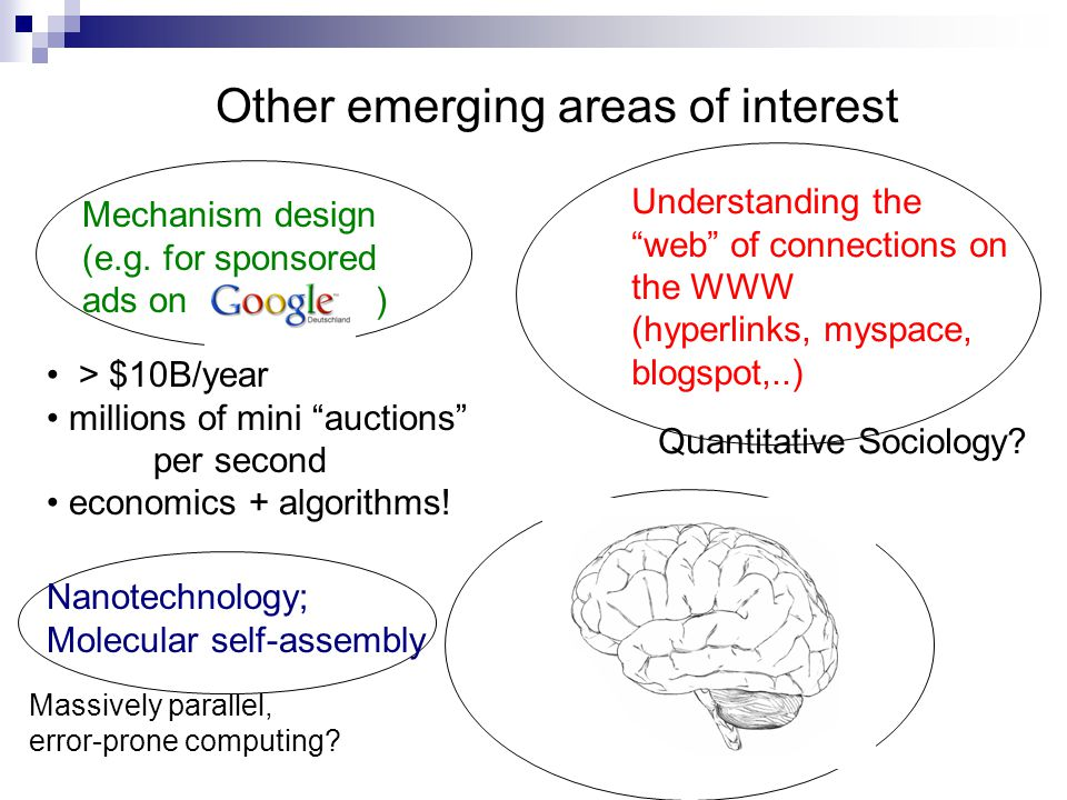Other emerging areas of interest Mechanism design (e.g.