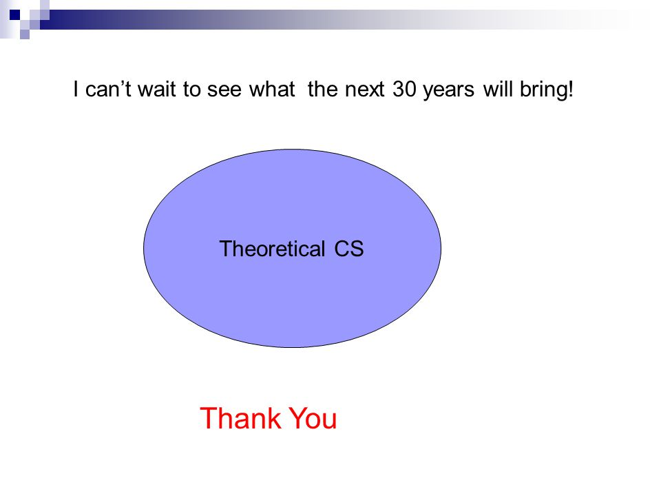 Theoretical CS I can't wait to see what the next 30 years will bring! Thank You
