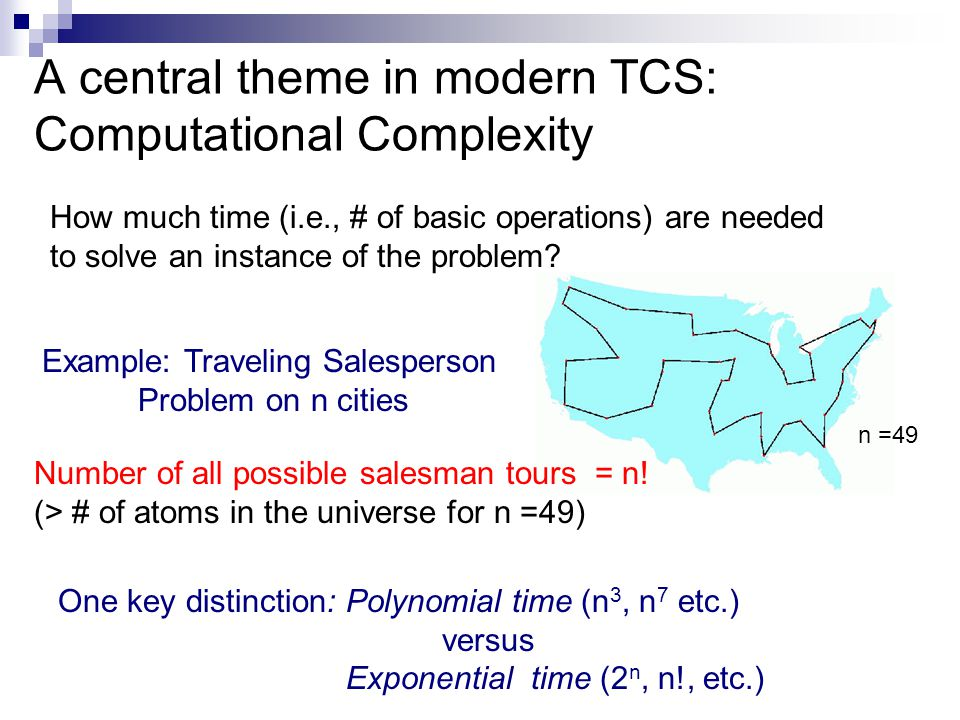 Some other important themes in TCS Efficiency common measures: computation time, memory, parallelism, randomness,..