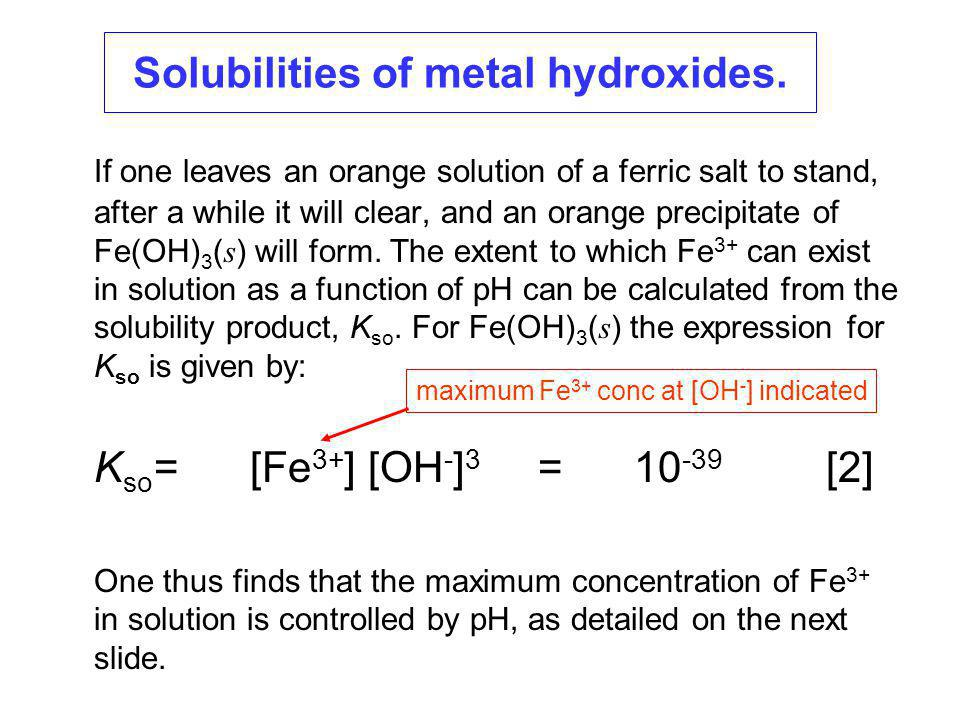 Solubilities of metal hydroxides.