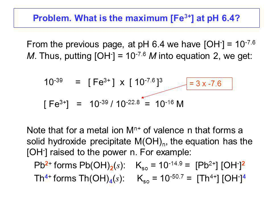 Problem. What is the maximum [Fe 3+ ] at pH 6.4.