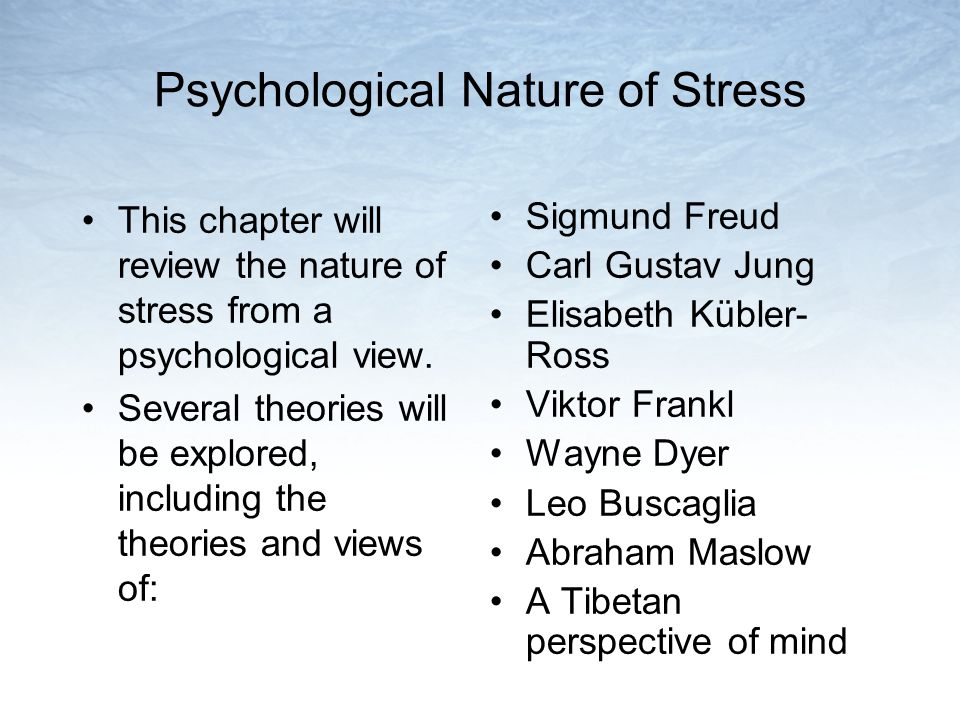 Psychological Nature of Stress This chapter will review the nature of stress from a psychological view. Several theories will be explored, including t