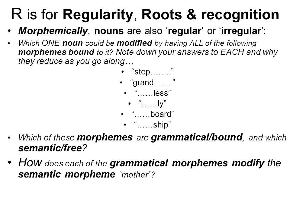 R is for Regularity, Roots & recognition Morphemically, nouns are also 'regular' or 'irregular': Which ONE noun could be modified by having ALL of the following morphemes bound to it.