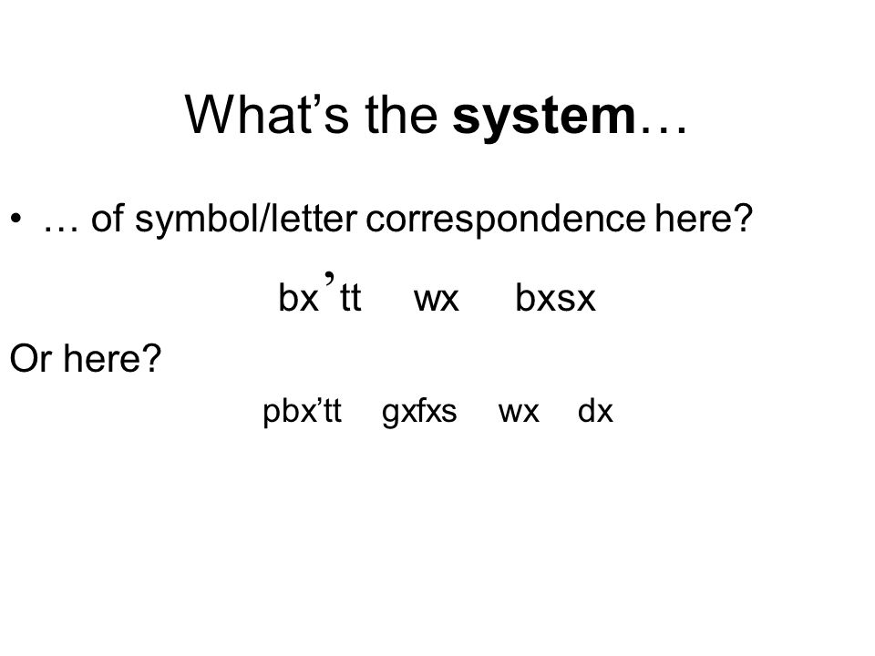 What's the system… … of symbol/letter correspondence here.