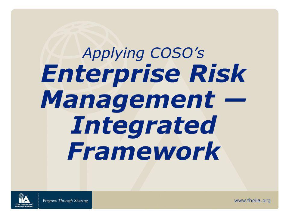www.theiia.org Internal Environment Establishes a philosophy regarding risk management.