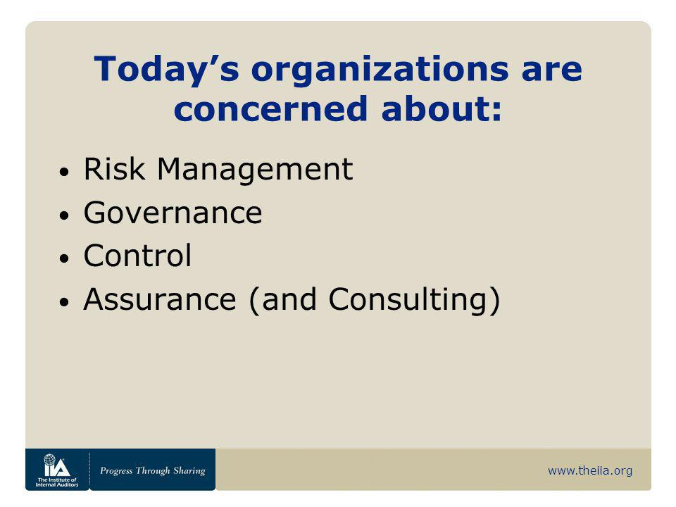 www.theiia.org Relationship to Internal Control — Integrated Framework Expands and elaborates on elements of internal control as set out in COSO's control framework. Includes objective setting as a separate component.