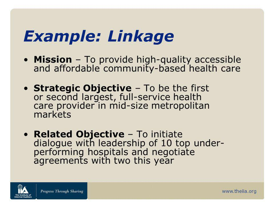 www.theiia.org Example: Linkage Mission – To provide high-quality accessible and affordable community-based health care Strategic Objective – To be th