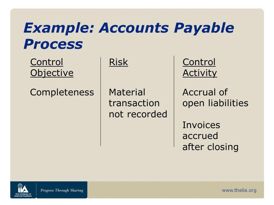 www.theiia.org Example: Accounts Payable Process Control RiskControl ObjectiveActivity CompletenessMaterialAccrual of transactionopen liabilities not