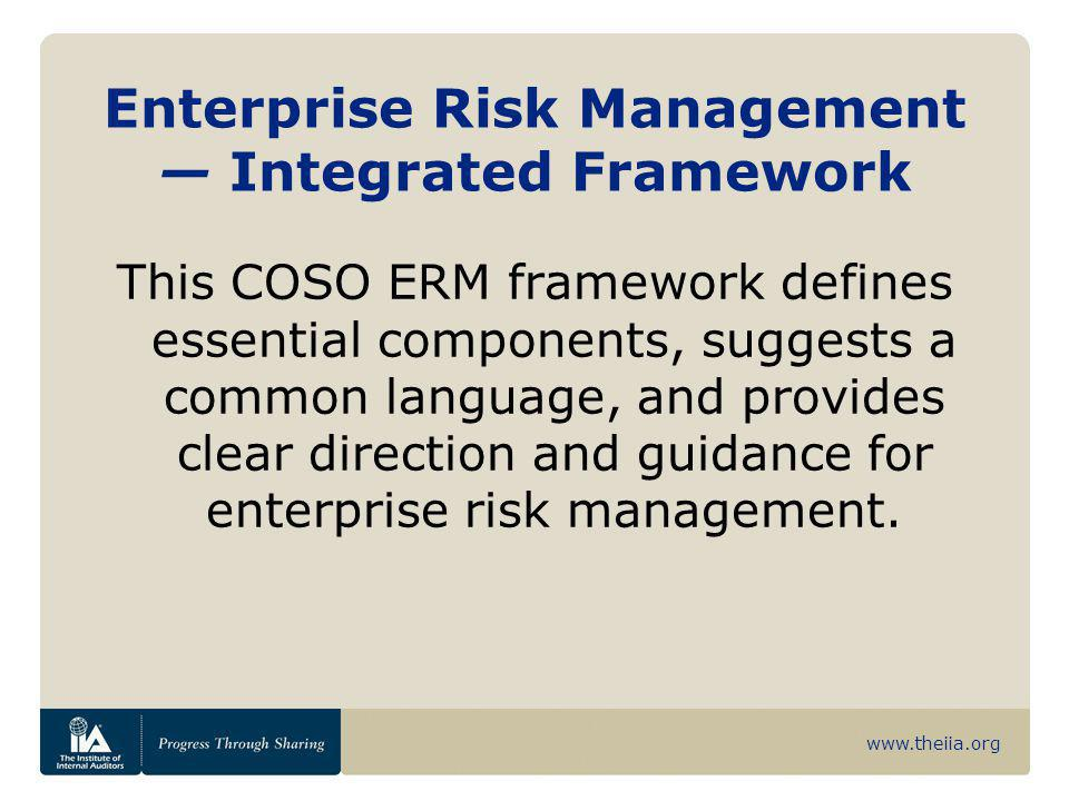 www.theiia.org Risk Assessment Employs a combination of both qualitative and quantitative risk assessment methodologies.