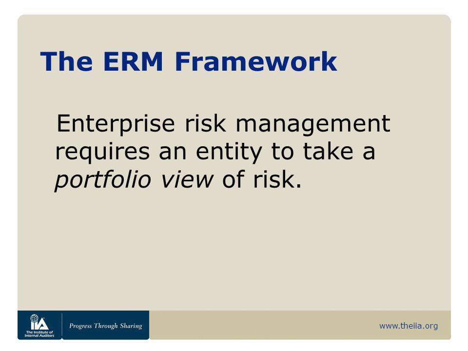 www.theiia.org The ERM Framework Management considers how individual risks interrelate.