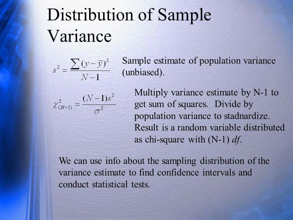 Testing Exact Hypotheses about a Variance Test the null that the population variance has some specific value.