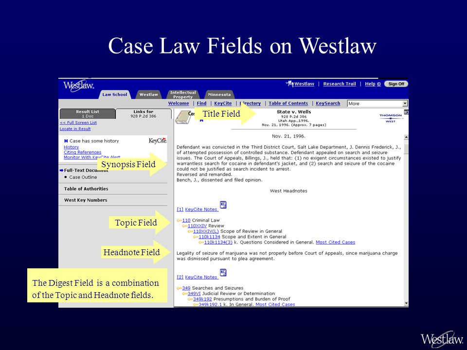 Synopsis Field Topic Field Title Field Case Law Fields on Westlaw Headnote Field The Digest Field is a combination of the Topic and Headnote fields.