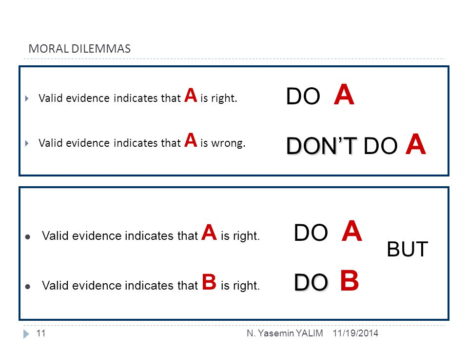 MORAL DILEMMAS  Valid evidence indicates that A is right.  Valid evidence indicates that A is wrong. DO A DON'T DON'T DO A Valid evidence indicates
