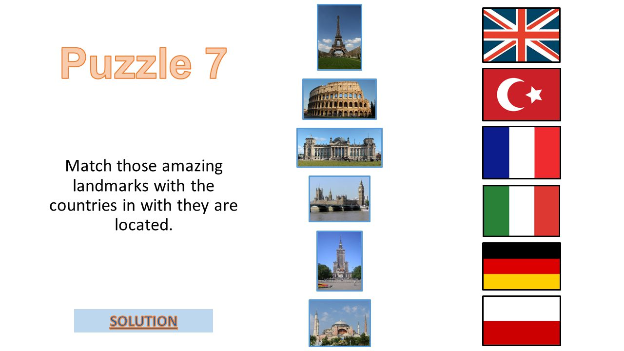 Match those amazing landmarks with the countries in with they are located.