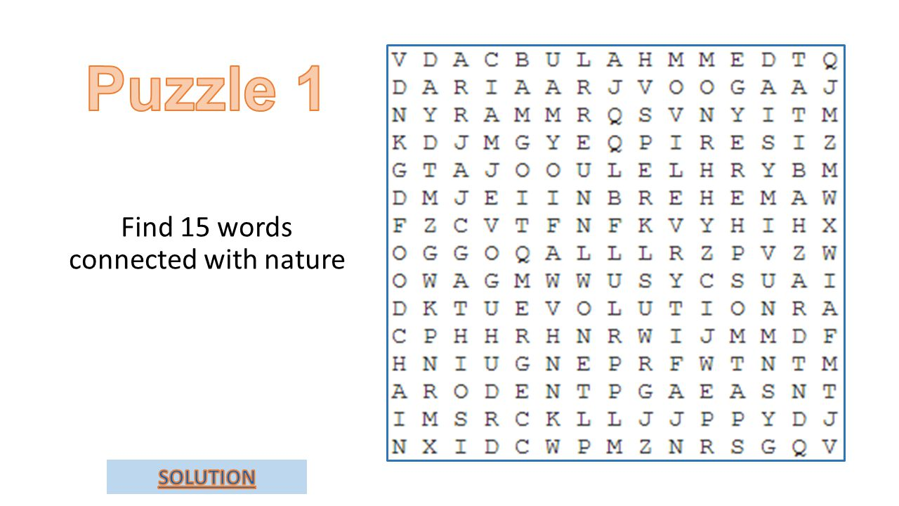 Find 15 words connected with nature