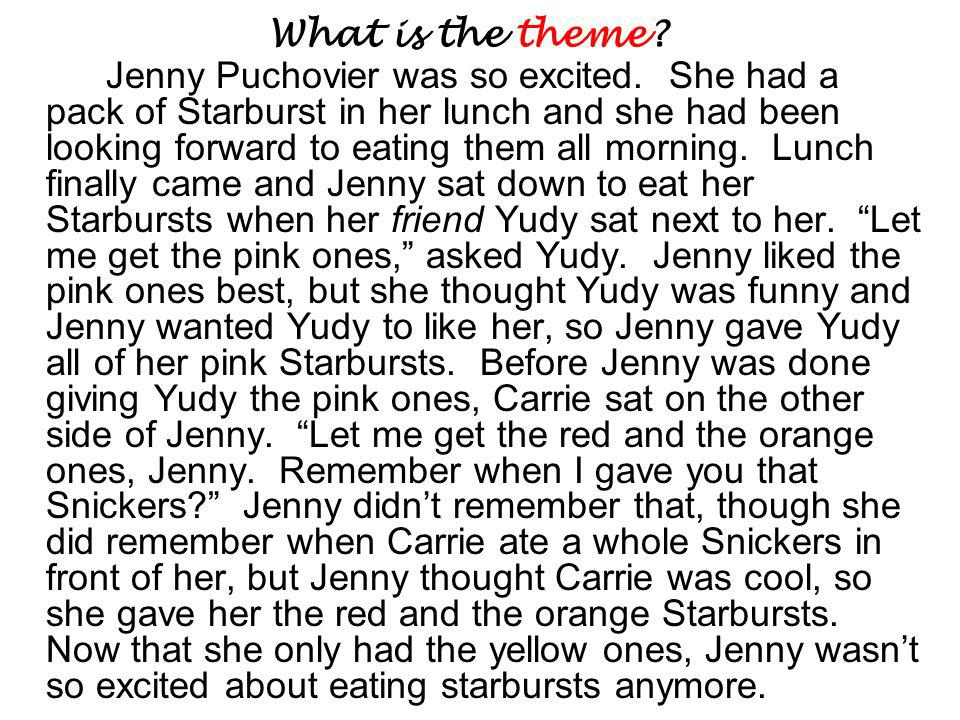 What is the theme. Jenny Puchovier was so excited.