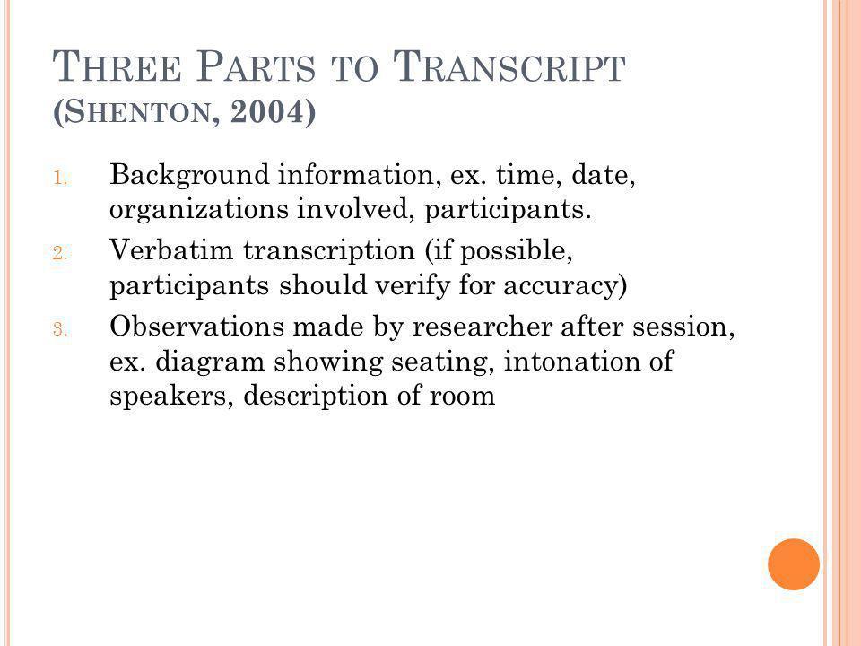 T HREE P ARTS TO T RANSCRIPT (S HENTON, 2004) 1. Background information, ex. time, date, organizations involved, participants. 2. Verbatim transcripti