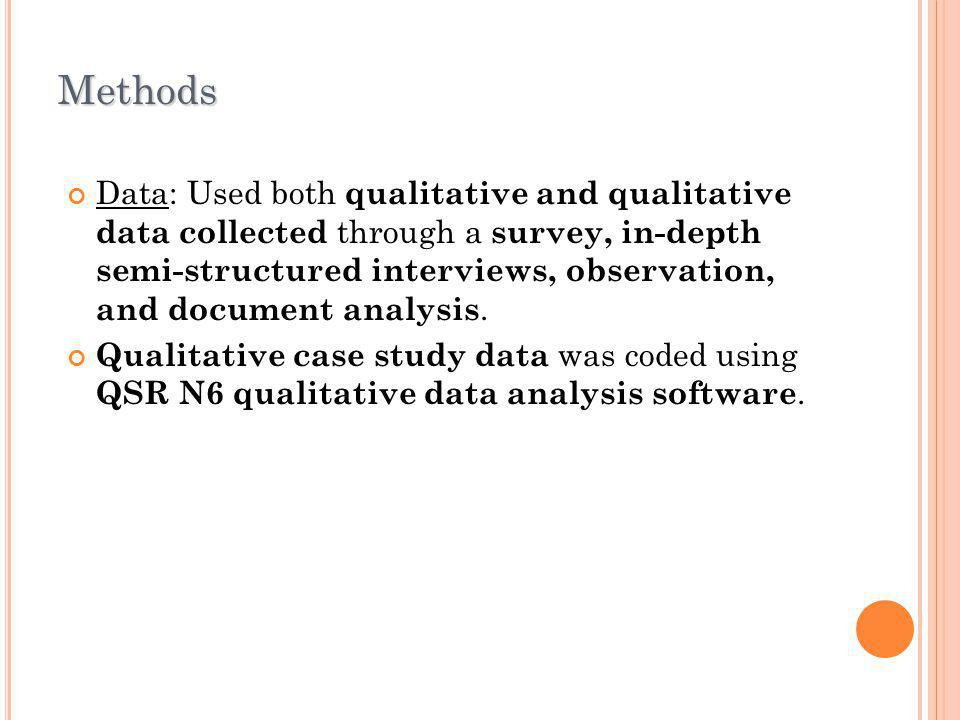 Methods Data: Used both qualitative and qualitative data collected through a survey, in-depth semi-structured interviews, observation, and document an