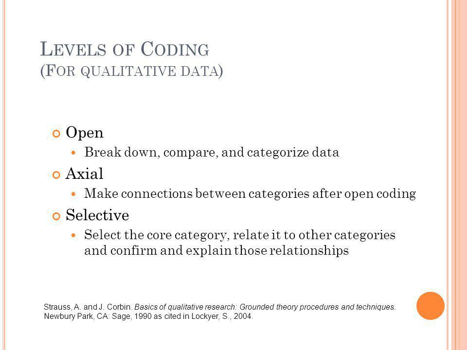 L EVELS OF C ODING (F OR QUALITATIVE DATA ) Open Break down, compare, and categorize data Axial Make connections between categories after open coding
