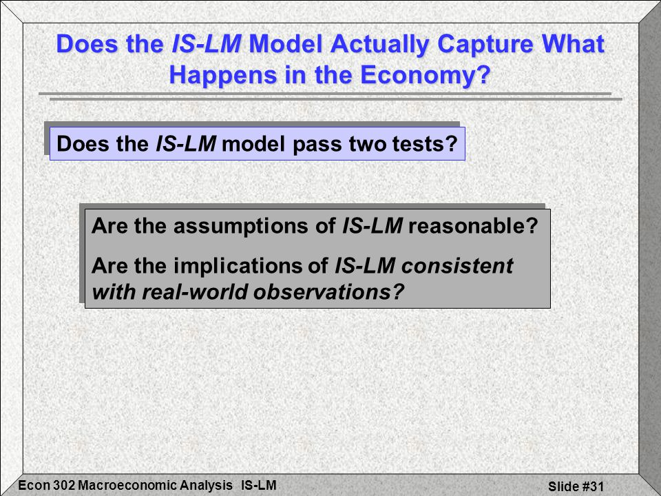 IS-LMEcon 302 Macroeconomic Analysis Slide #31 Does the IS-LM Model Actually Capture What Happens in the Economy.