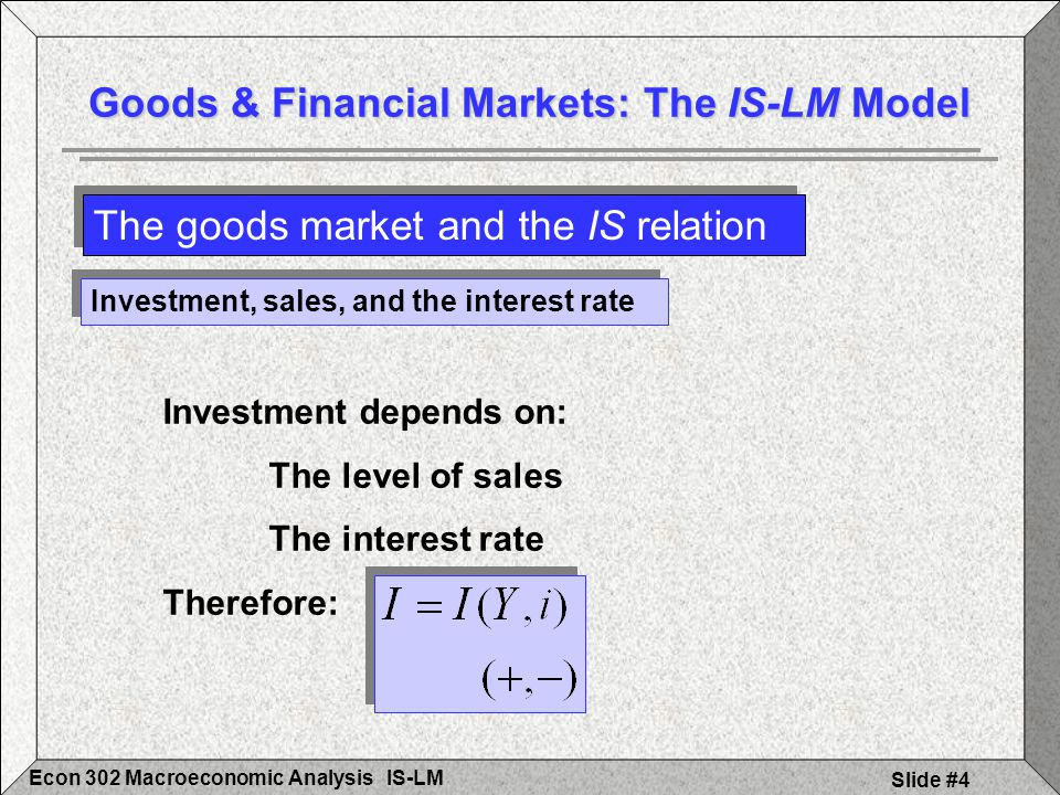 IS-LMEcon 302 Macroeconomic Analysis Slide #15 A´ M d´ (for Y´ > Y) LM (M/P) A A Y i i M d (for Y) M/P MsMs i´ A´ Y´ i´ The LM curve Financial Markets and the LM Relation Interest Rate, i (Real) Money, M/P Interest Rate, i Income, Y