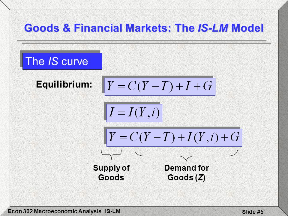 IS-LMEcon 302 Macroeconomic Analysis Slide #16 The LM curve Financial Markets and the LM Relation Shifts in the LM Curve: Showing changes in M & P Interest Rate, i (Real) Money, M/P b a M/P LM (M/P) Interest Rate, i Income, Y a b Y´ Y i i´ M d (for Y) i i´ MsMs M d´ (for Y´ > Y) M´/P LM´ (M´/P > M/P) i´ 2 i2i2 i2i2 M s´ a´ b´ a´ b´