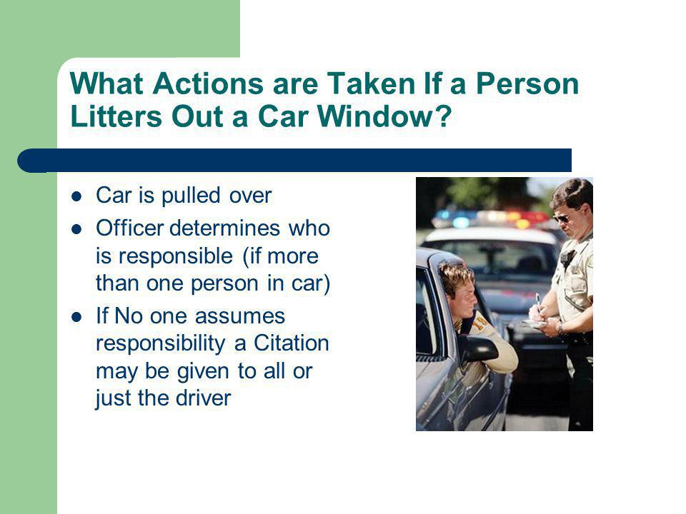 What Actions are Taken If a Person Litters Out a Car Window.