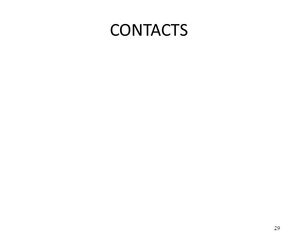 CONTACTS 29