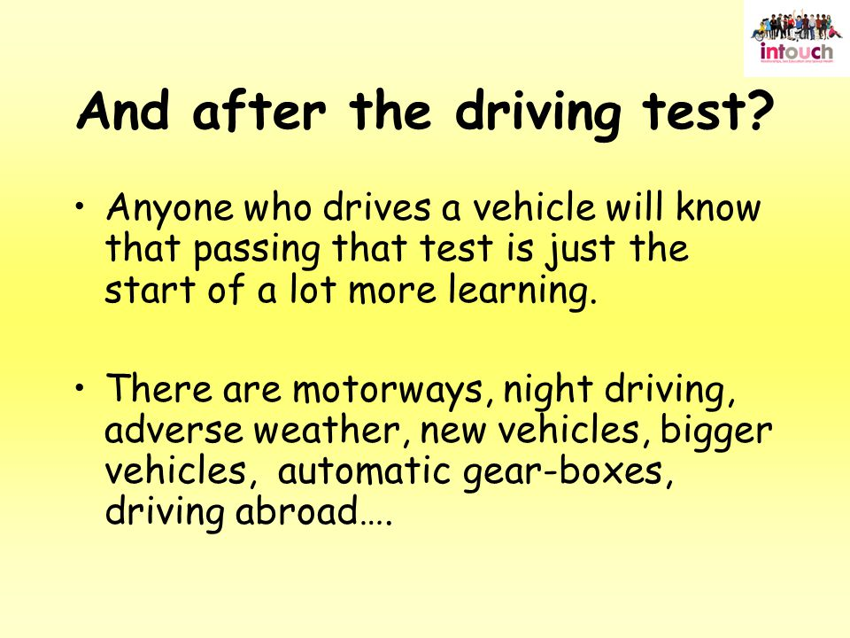 And after the driving test.
