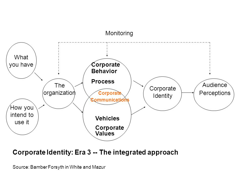What you have How you intend to use it The organization Corporate Identity Audience Perceptions Monitoring Corporate Identity: Era 3 -- The integrated approach Source: Bamber Forsyth in White and Mazur Corporate Communications Corporate Behavior Process Vehicles Corporate Values
