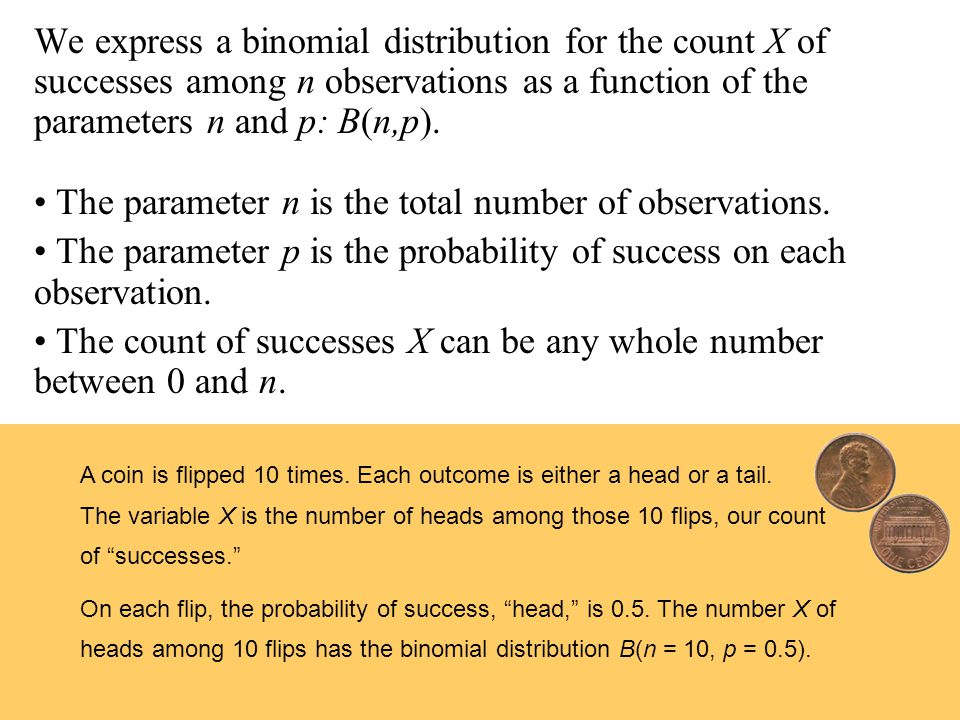 We express a binomial distribution for the count X of successes among n observations as a function of the parameters n and p: B(n,p). The parameter n