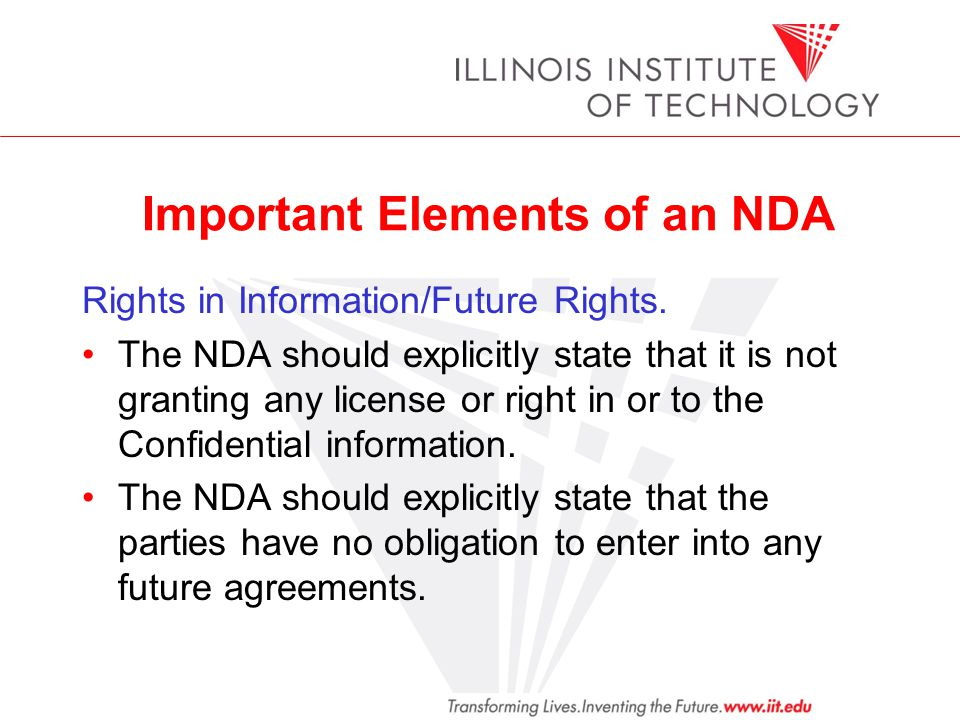 Important Elements of an NDA Rights in Information/Future Rights.