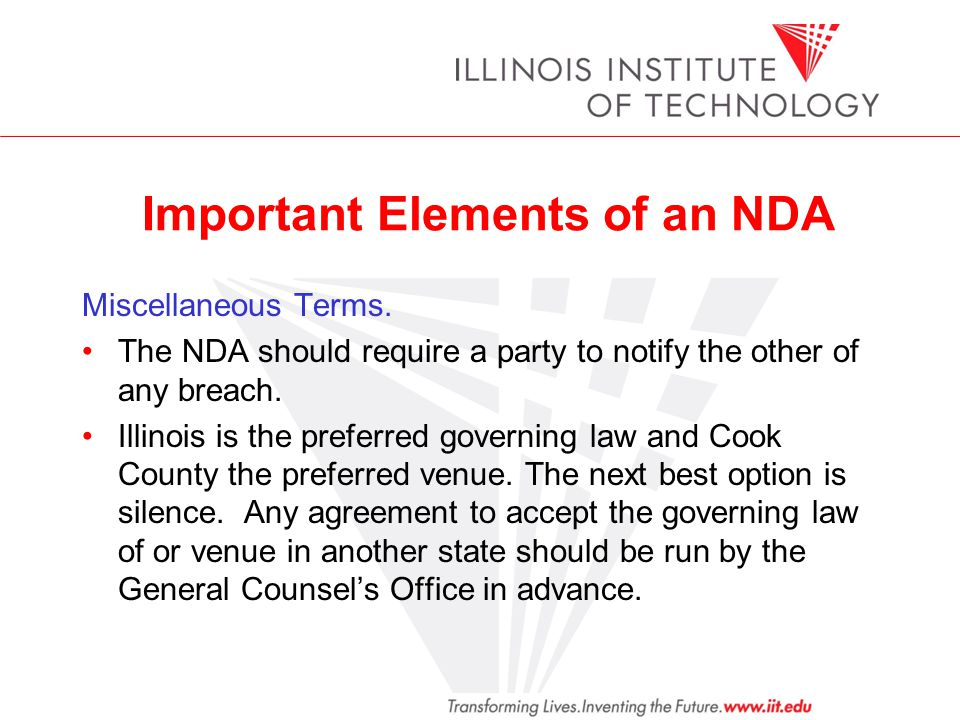 Important Elements of an NDA Miscellaneous Terms.