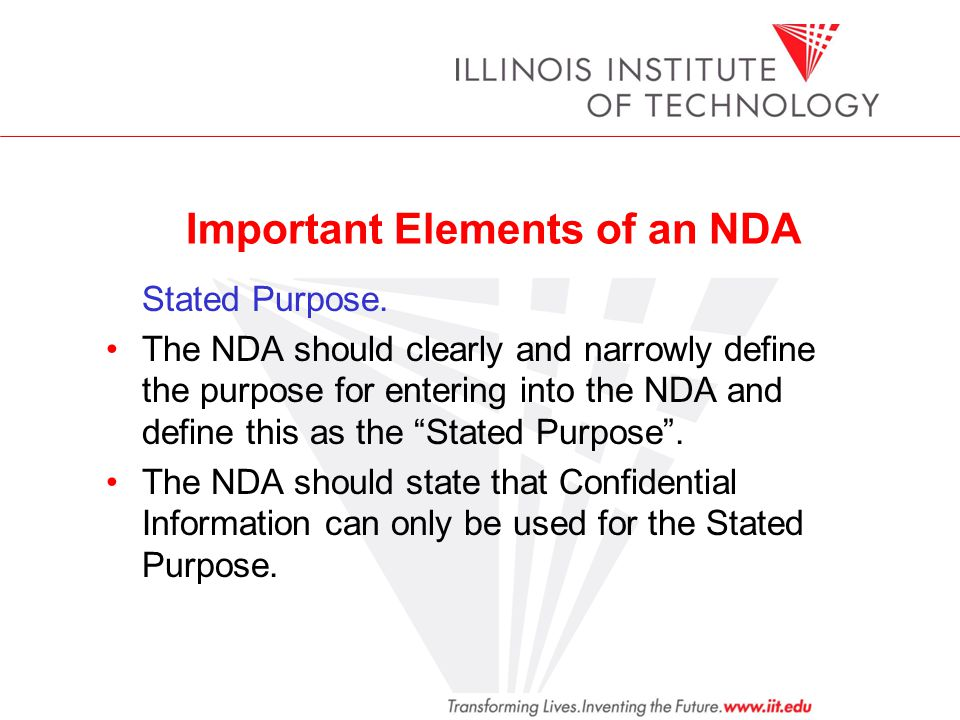 Important Elements of an NDA Stated Purpose.