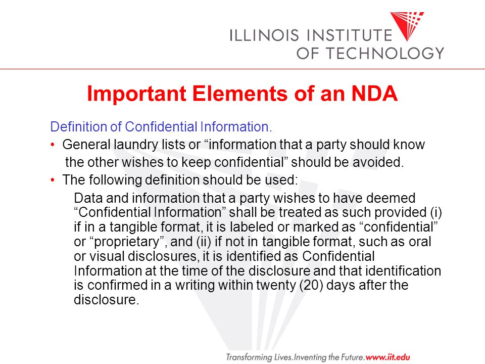 Important Elements of an NDA Definition of Confidential Information.