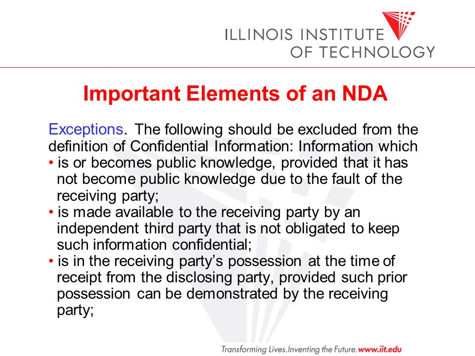 Important Elements of an NDA Exceptions.