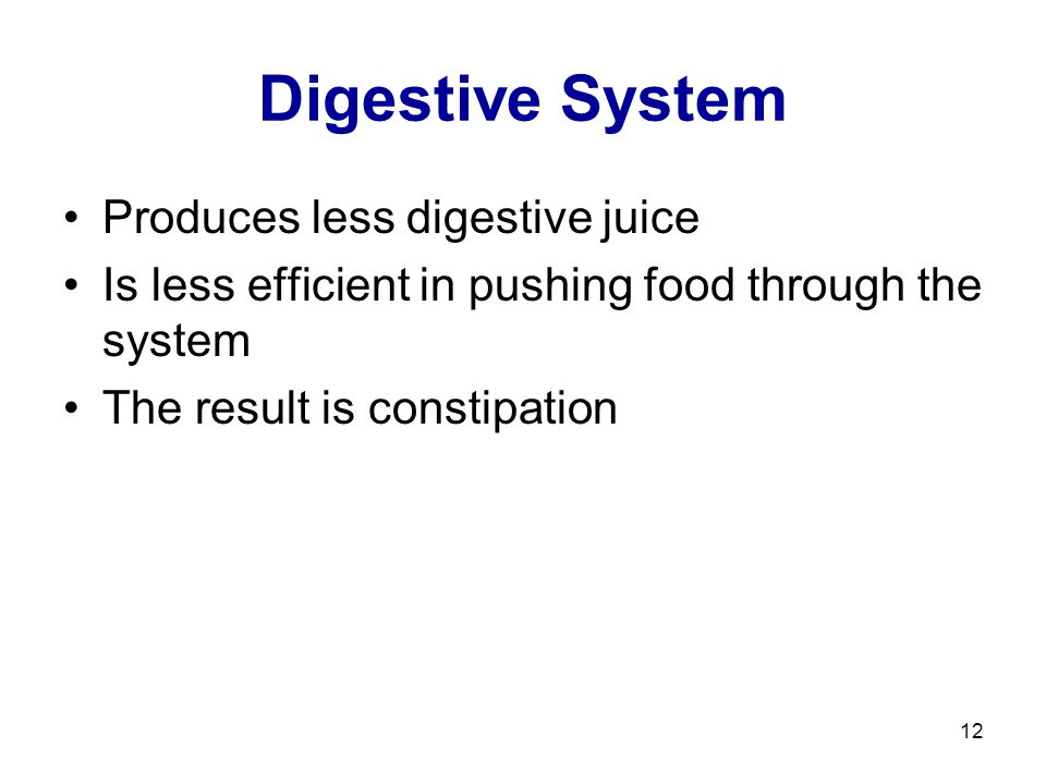 12 Digestive System Produces less digestive juice Is less efficient in pushing food through the system The result is constipation