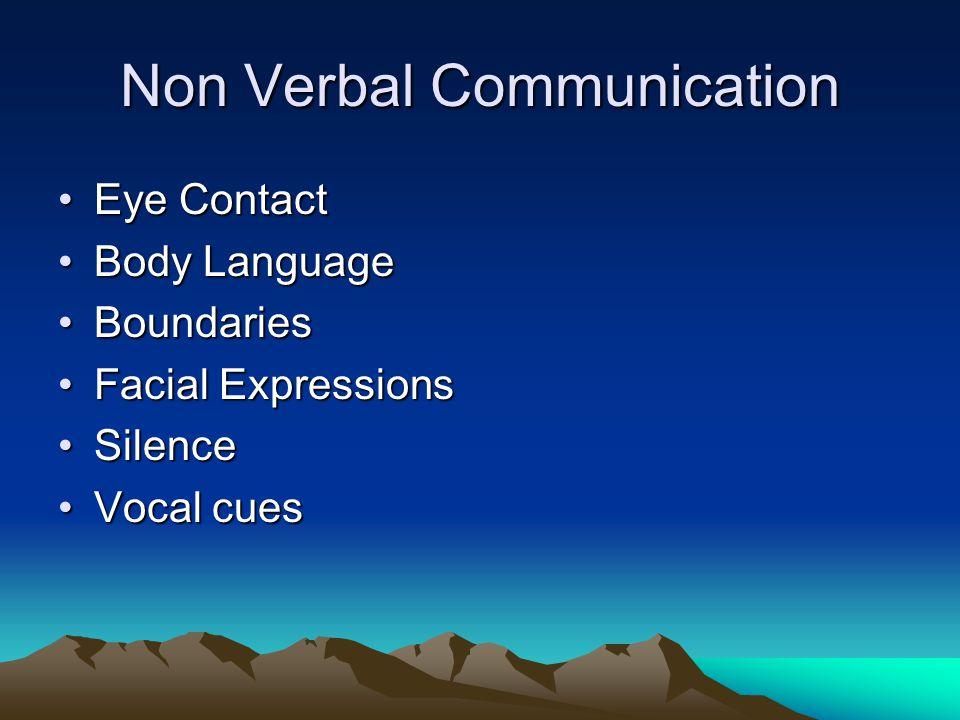 Non Verbal Communication Eye ContactEye Contact Body LanguageBody Language BoundariesBoundaries Facial ExpressionsFacial Expressions SilenceSilence Vo