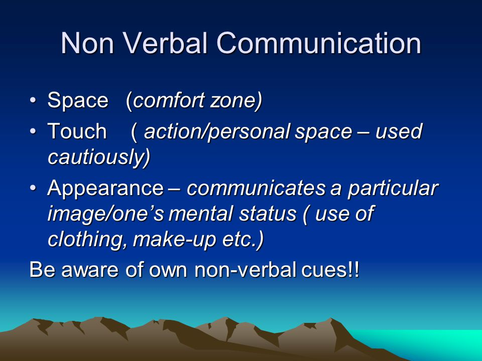 Non Verbal Communication Space(comfort zone)Space(comfort zone) Touch ( action/personal space – used cautiously)Touch ( action/personal space – used c