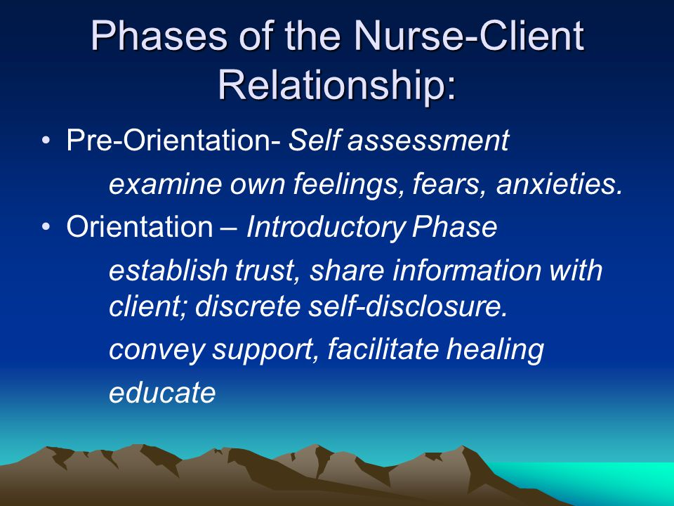 Phases of the Nurse-Client Relationship: Pre-Orientation- Self assessment examine own feelings, fears, anxieties. Orientation – Introductory Phase est