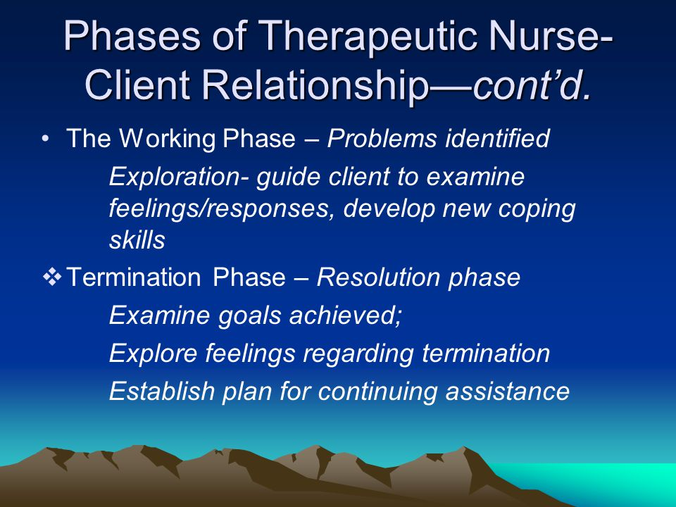 Phases of Therapeutic Nurse- Client Relationship—cont'd. The Working Phase – Problems identified Exploration- guide client to examine feelings/respons