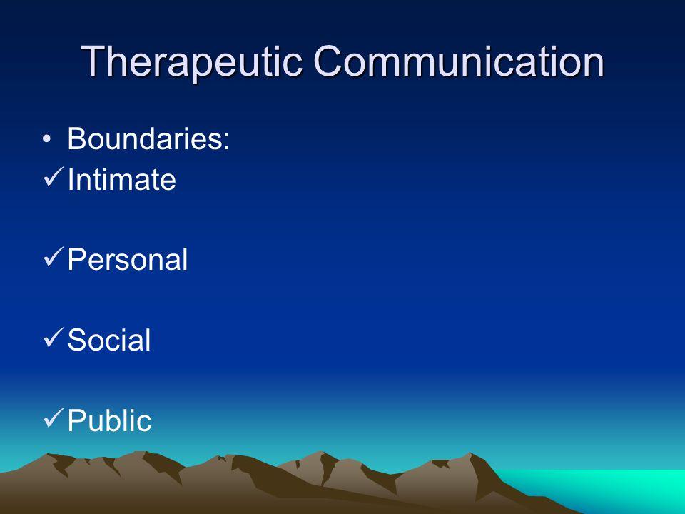 Therapeutic Communication Boundaries: Intimate Personal Social Public