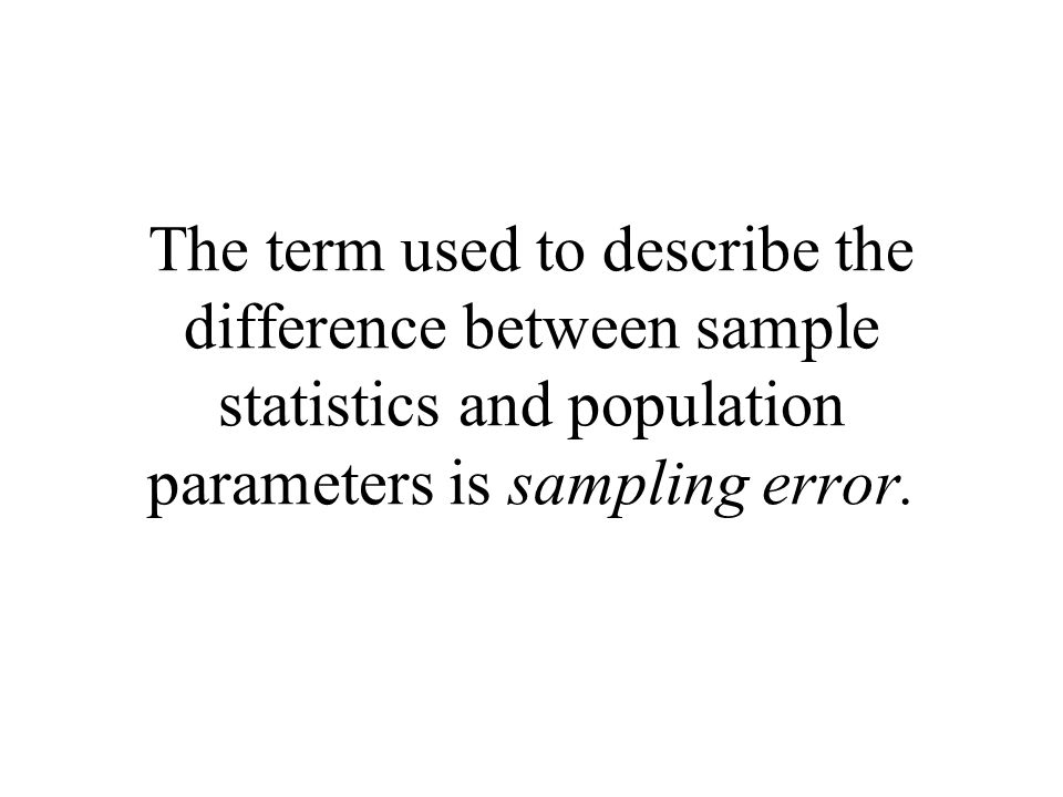 The term used to describe the difference between sample statistics and population parameters is sampling error.